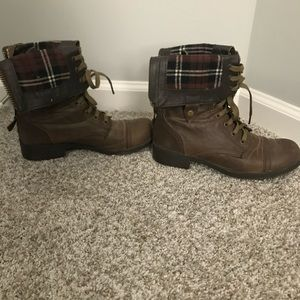 Shoes - Bull boxer brown boots zip up fold down size 10